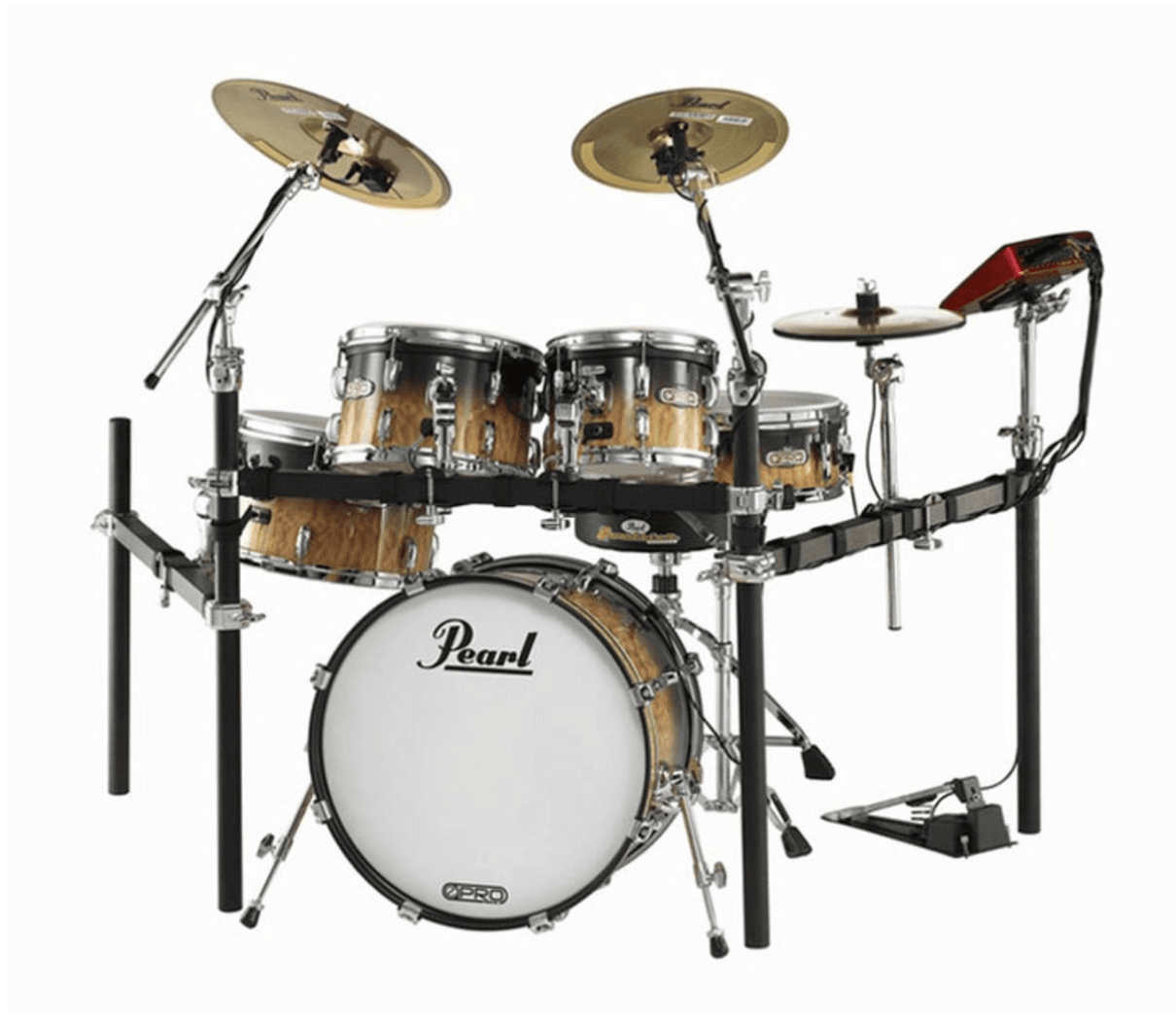 The complete set up of the Pearl E Pro Review looks like an acoustic kit.